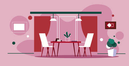 modern office interior creative co-working workplace table with chairs empty no people cabinet sketch doodle horizontal pink background vector illustration