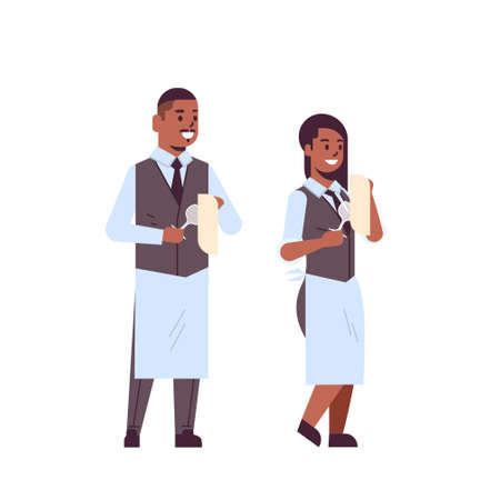 professional waiters couple polishing wine glasses with towel african american man woman restaurant workers in uniform flat full length white background vector illustration