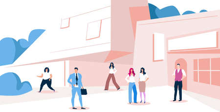 businesspeople group walking outdoors near modern business center men women in formal wear standing in area city office building exterior sketch full length horizontal vector illustration