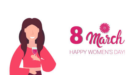 woman drinking wine happy women day 8 march holiday celebration concept female cartoon character portrait white background horizontal greeting card vector illustration