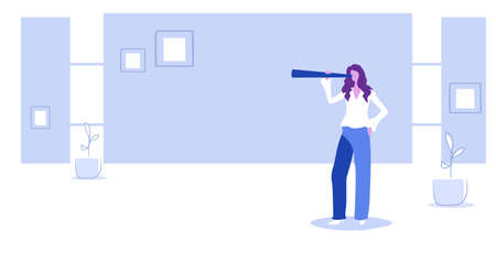 businesswoman using binoculars business woman looking through binocular successful future career vision concept sketch full length horizontal vector illustration