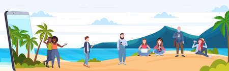 people using gadgets mix race men women relaxing on tropical island sea beach summer vacation digital addiction concept smartphone screen mobile app flat full length horizontal vector illustration Banco de Imagens - 130750626