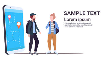 tourists couple using mobile navigation app with location marker walking road on smartphone screen travelers using gps to find destination flat full length horizontal copy space vector illustration Illustration