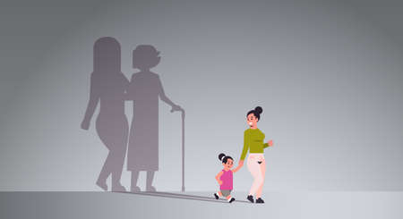 mother with daughter holding hands shadow of young and mature woman standing together imagination aspiration concept full length flat horizontal vector illustration