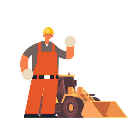 male builder wearing hard hat busy workman standing near tractor heavy excavator industrial construction worker in uniform building concept flat full length vector illustration