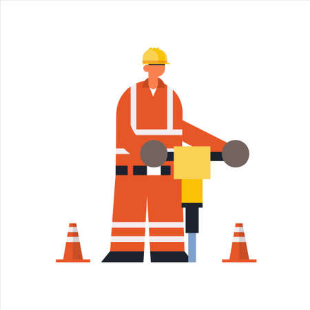 male builder drilling with jackhammer busy workman industrial construction worker in protective uniform building concept flat full length vector illustration