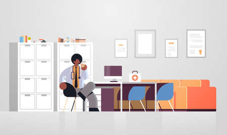 male doctor in white coat having coffee break medicine healthcare concept african american medical worker sitting at workplace modern hospital clinic office interior full length flat horizontal vector illustration