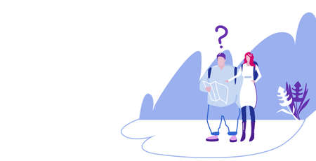 lost tourists couple hikers with backpacks holding travel map man woman travelers with question mark hike adventure concept landscape background horizontal full length sketch vector illustration