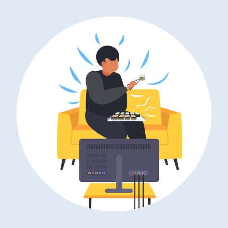 fat obese man eating sushi overweight guy sitting on armchair watching tv obesity unhealthy nutrition concept flat full length vector illustration