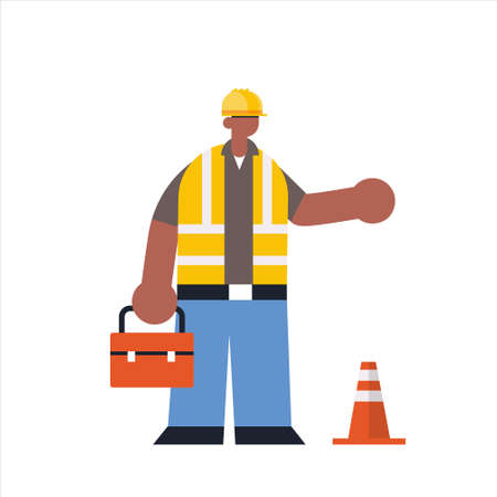 male builder holding toolbox african american busy workman standing pose industrial construction worker in uniform building concept flat full length vector illustration  イラスト・ベクター素材