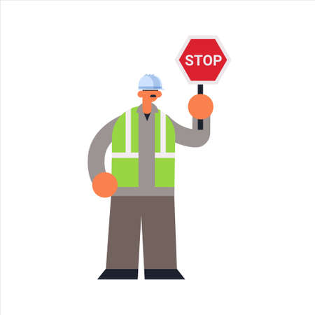 male builder holding stop sign closing or blocking way busy workman standing pose industrial construction worker in uniform building concept flat full length vector illustration