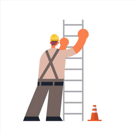 male builder climbing ladder busy workman industrial construction worker in uniform building concept rear view flat full length vector illustration