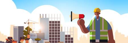 male builder holding megaphone busy workman using loudspeaker making announcement industrial worker in uniform building concept construction site background flat portrait horizontal vector illustratio