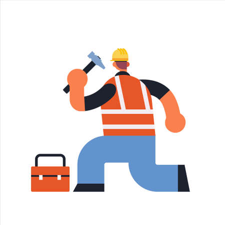 male builder using hammer and toolbox busy workman industrial construction carpenter worker in uniform building concept rear view flat full length vector illustration