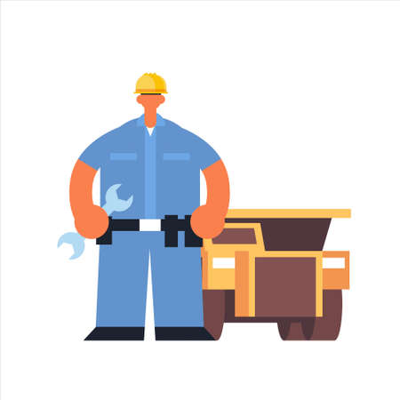 male technician mechanic wearing hard hat busy workman holding wrench industrial construction worker in uniform building car cervice concept flat full length vector illustration