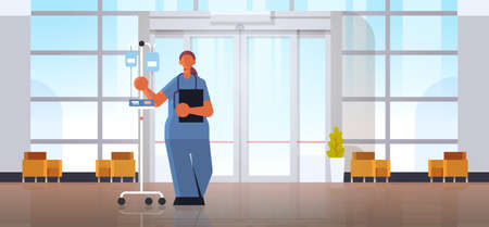 female doctor anesthesiologist in uniform holding dropper medicine healthcare concept modern hospital medical clinic hall interior full length horizontal flat vector illustration Фото со стока - 130759483
