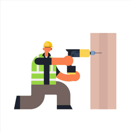 male builder using electric drill busy workman industrial construction carpenter worker in uniform drilling hole in wooden plank building concept flat full length vector illustration