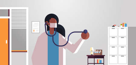 female doctor cardiologist examining patient with stethoscope medicine healthcare concept hospital medical clinic office interior portrait flat horizontal vector illustration Illustration