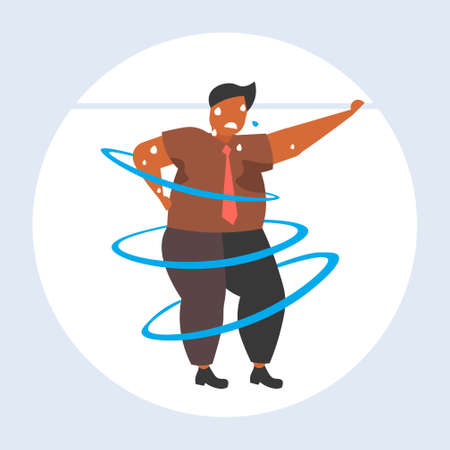 fat obese man dancing pose overweight african american sweaty guy cardio training weight loss concept flat full length vector illustration