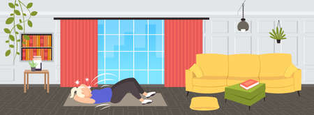 fat obese woman doing sit-ups press abdominal exercises on mat overweight girl training workout weight loss concept modern living room interior flat full length horizontal vector illustration