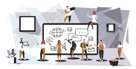 businesspeople group using tablet computer app social media communication digital addiction concept business people discussing during meeting modern office interior full length sketch horizontal vector illustration Illustration
