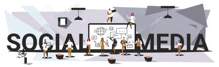 businesspeople group using tablet computer app social media communication concept business people discussing during meeting full length sketch horizontal banner vector illustration