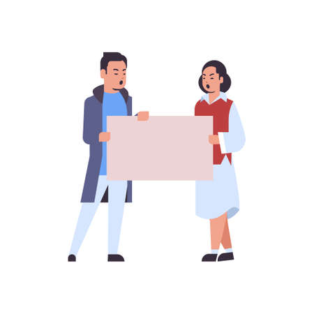 protesters couple holding blank placard man woman activists with empty sign banner protest demonstration strike concept flat full length vector illustration