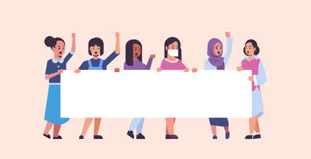 women protesters holding blank placard mix race girls activists with empty sign banner protest demonstration strike concept flat full length horizontal vector illustration