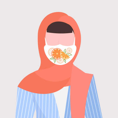 arab woman i wearing headscarf and protective face mask with orange icon smog air pollution virus protection concept girl profile avatar female cartoon character portrait flat vector illustration