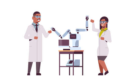 scientists couple near industrial robotic arms african american man woman in uniform with robot manipulators smart medical machine automatic technology concept full length flat horizontal vector illustration