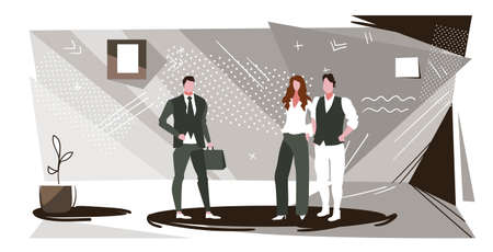 colleagues discussing new project during meeting businesspeople team standing together business communication concept modern office interior sketch full length horizontal vector illustration Ilustracja