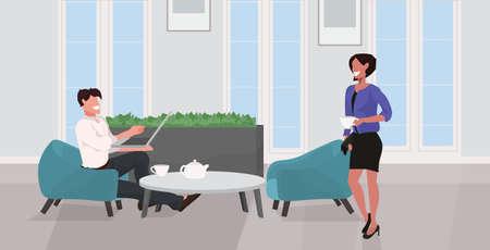 man woman drinking tea relaxing at home couple having fun using laptop and discussing together modern living room interior flat full length horizontal vector illustration