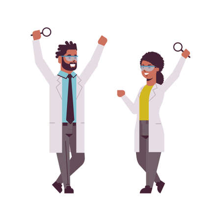 scientists couple raising hands with magnifying glass african american man woman researchers in uniform making experiment analysis in laboratory research science chemical concept full length flat vector illustration