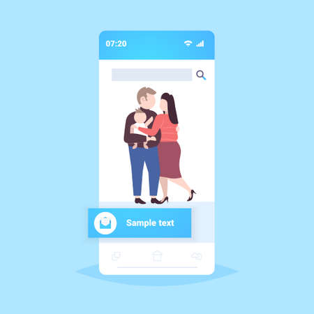 fat obese family standing together parents and child embracing overweight man woman with son having fun smartphone screen online mobile app flat full length vector illustration Иллюстрация