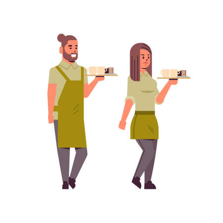 professional waiters couple holding coffee and cake on tray man woman restaurant workers in apron serving food concept flat full length white background vector illustration Ilustrace