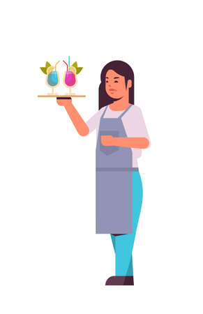 professional waitress holding serving tray with cocktails woman restaurant worker in uniform carrying different alcohol drinks flat full length white background vertical vector illustration