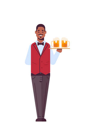 professional waiter holding serving tray with two glasses of beer african american man restaurant worker in uniform carrying alcohol drinks flat full length white background vertical vector illustration