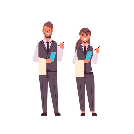 professional waiters couple making notes man woman restaurant workers in uniform holding notepad and towel taking order concept flat full length white background vector illustration