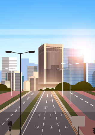 highway asphalt road with marking arrows traffic signs city skyline modern skyscrapers cityscape sunrise background flat vertical vector illustration