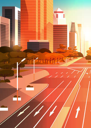 highway asphalt road with marking arrows traffic signs city skyline modern skyscrapers cityscape sunset background flat vertical vector illustration