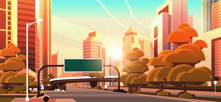 asphalt road with information banner traffic signs city skyline modern skyscrapers cityscape sunset background flat horizontal vector illustration Stock Illustratie
