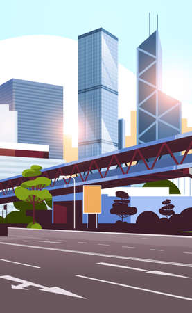 highway road to city skyline with modern skyscrapers and subway cityscape sunset background flat vertical vector illustration Stock Illustratie