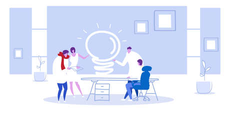 businesspeople group at meeting talking about new project business people brainstorming at office desk with light lamp discussion of ideas concept sketch horizontal full length vector illustration Illustration