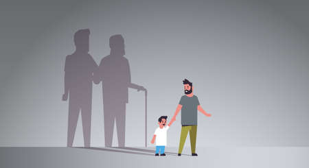 father with son holding hands dreaming about future shadow of young and mature man standing together imagination aspiration concept full length flat horizontal vector illustration