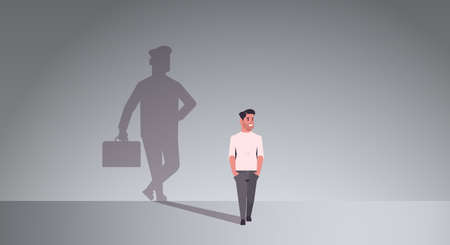 casual guy dreaming about being businessman shadow of business man with briefcase imagination aspiration concept male cartoon character standing pose full length flat horizontal vector illustration Çizim
