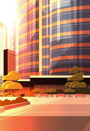 beautifil city street sunset skyline high skyscrapers modern cityscape background flat vertical closeup vector illustration
