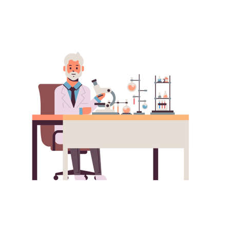 senior male scientist working with microscope man in uniform sitting at table making scientific experiments in chemistry laboratory with test tubes research science concept full length vector illustration Иллюстрация