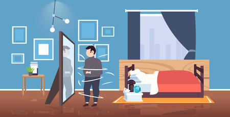 fat overweight man looking at reflection in mirror sad obese guy unhealthy lifestyle obesity concept modern bedroom interior horizontal flat full length vector illustration