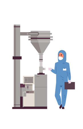 male scientist working with control panel pressing start button on special machine man in protective suit pharmaceutical items production concept vertical full length vector illustration