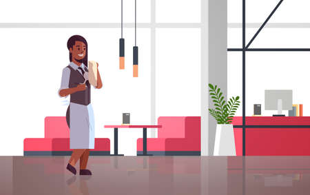 professional waitress polishing wine glass with towel african american woman restaurant worker in uniform modern cafe interior flat full length horizontal vector illustration